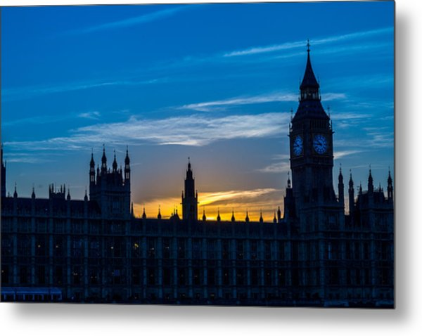 Westminster Parlament In London Golden Hour Metal Print