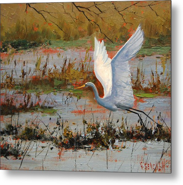 Wetland Heron Metal Print