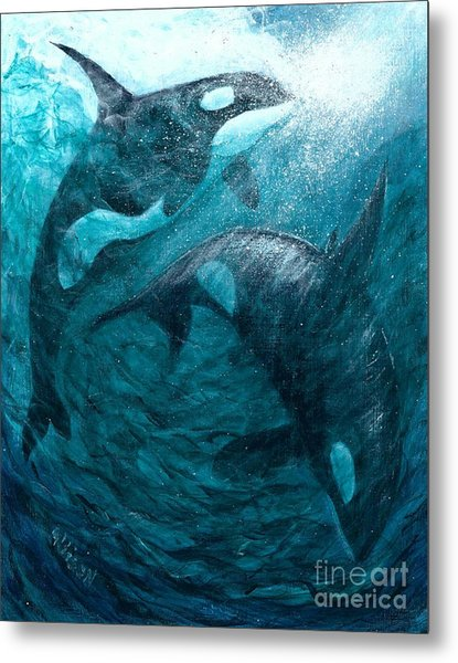 Whales  Ascending  Descending Metal Print