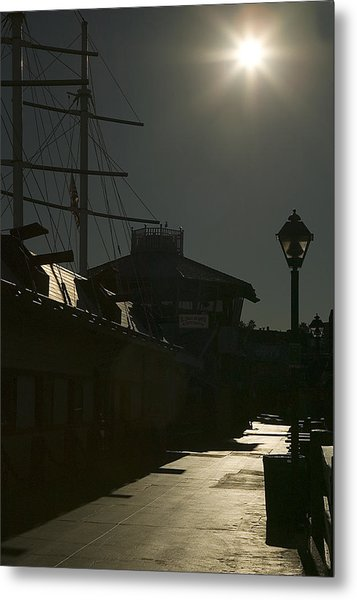 Wharf At Night Metal Print by Clyde Replogle