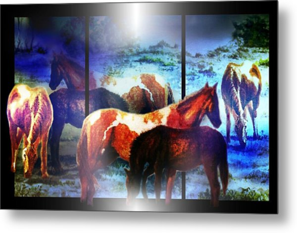 Metal Print featuring the mixed media What  Horses Dream by Hartmut Jager