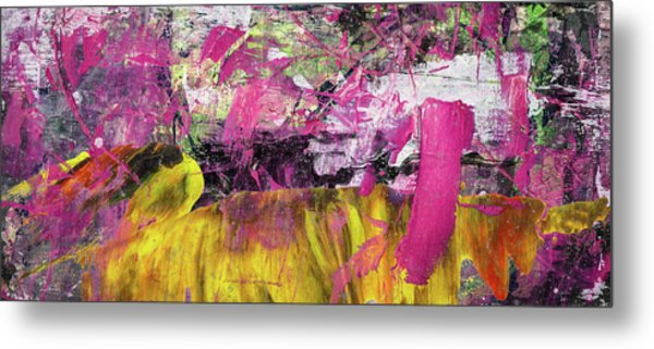 Whatever Makes You Happy - Large Pink And Yellow Abstract Painting Metal Print