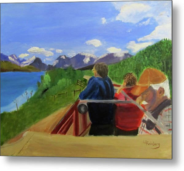 Metal Print featuring the painting What's Out There? by Linda Feinberg