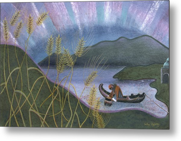 Wheat And Northern Lights Metal Print by Sally Appleby