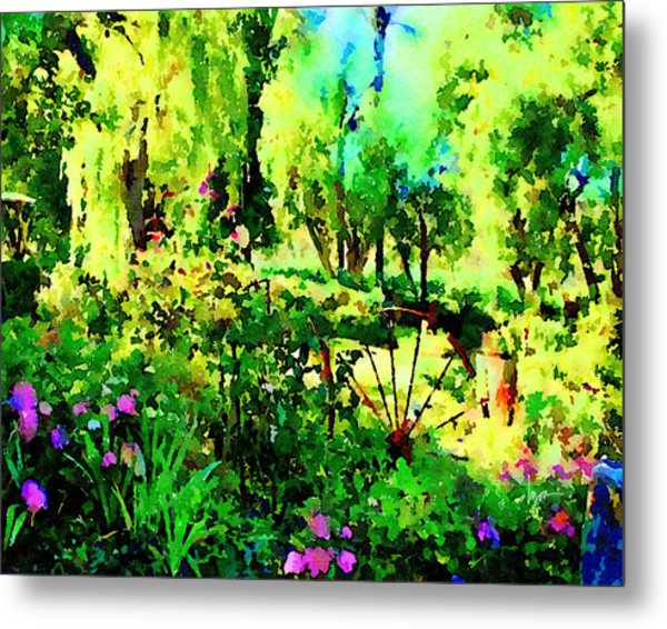 Metal Print featuring the painting Wheel Garden by Angela Treat Lyon