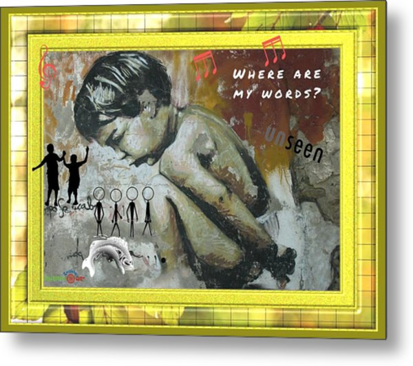 Where Are My Words? Metal Print