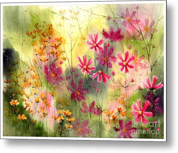 Where The Pink Flowers Grow Metal Print