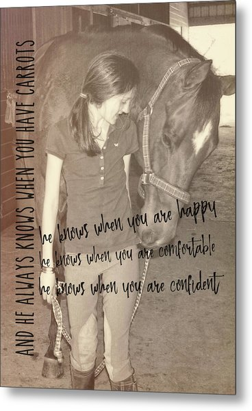 Where's My Carrot? Quote Metal Print