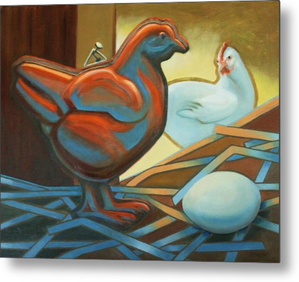 Which Came First? Metal Print