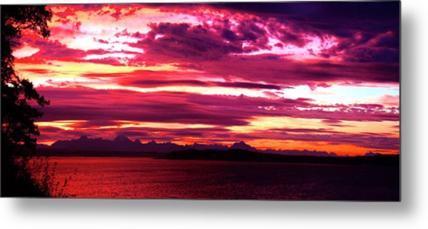 Whidbey Red Sky Morning Metal Print by Mary Gaines