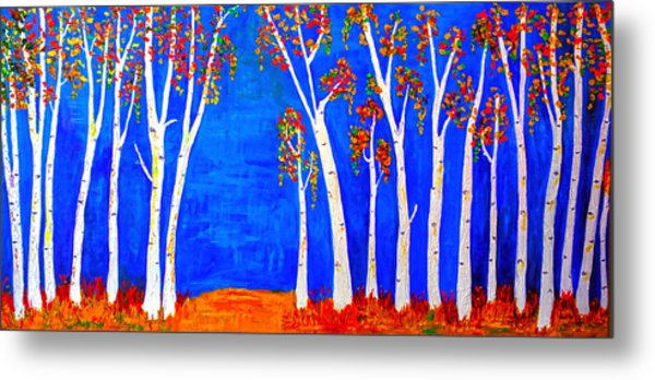 Whimsical Birch Trees Metal Print