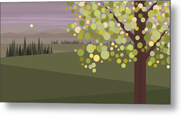 Whimsical Green Tree Metal Print