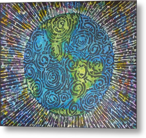 Metal Print featuring the painting Whirled Piece by Amelie Simmons