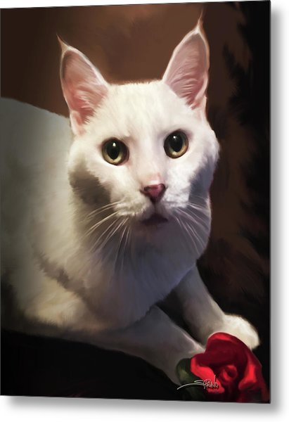 Whiskers And Rose Metal Print
