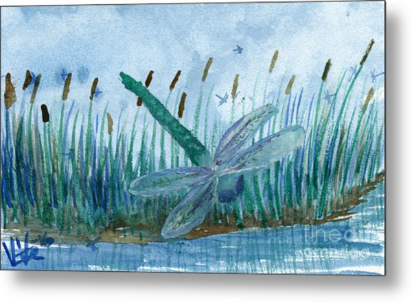 Whispering Cattails Metal Print