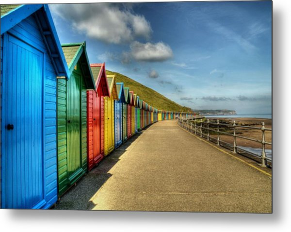 Whitby Beach Huts Metal Print