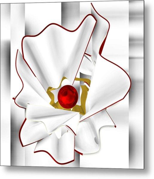 Metal Print featuring the digital art White Abstract Flower by Alberto RuiZ