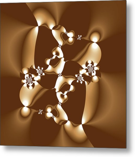 White And Milk Chocolate Fractal Metal Print