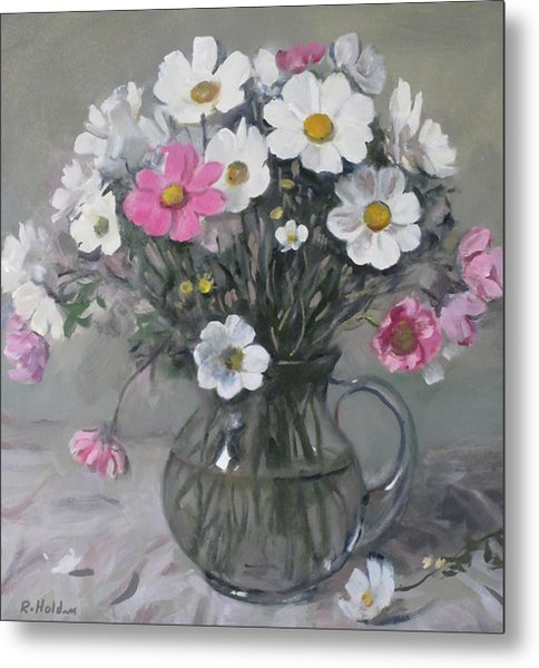 White And Pink Cosmos Bouquet In Water Pitcher No. 2 Metal Print