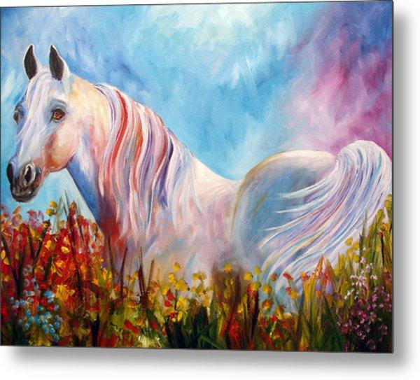White Arabian Horse Metal Print by Mary Jo Zorad