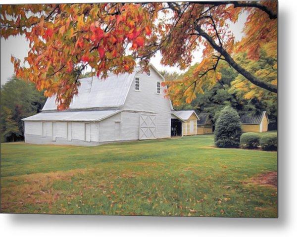 White Barn In Autumn Metal Print
