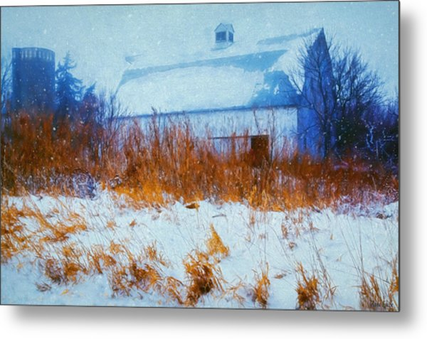 White Barn In Snowstorm Metal Print
