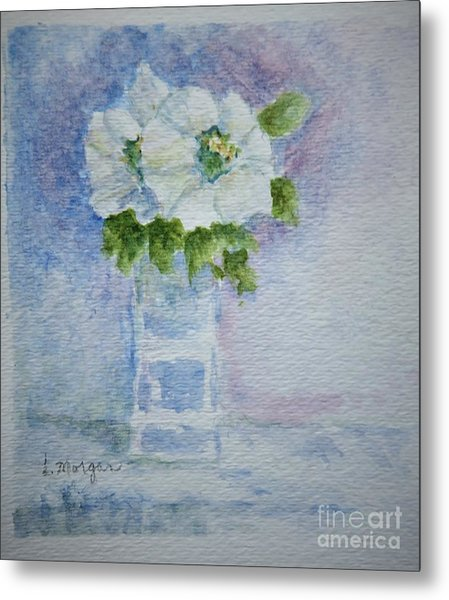 White Blooms In Blue Vase Metal Print