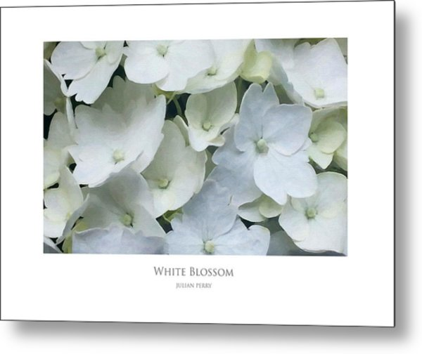 Metal Print featuring the digital art White Blossom by Julian Perry