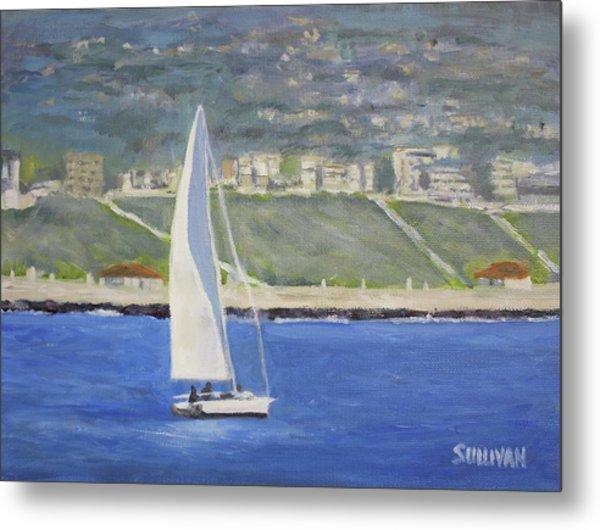 White Boat, Blue Sea Metal Print