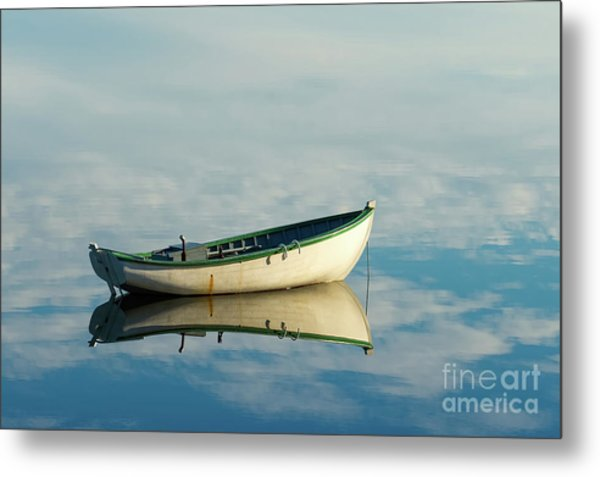 White Boat Reflected Metal Print