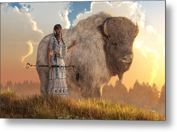 Metal Print featuring the digital art White Buffalo Calf Woman by Daniel Eskridge
