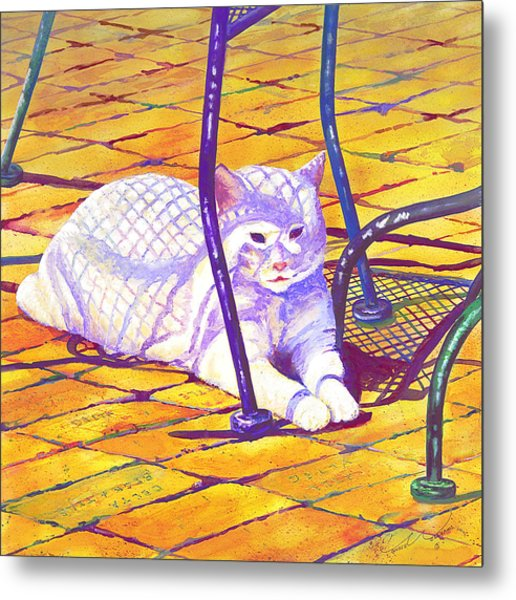 White Cat On Patio Metal Print