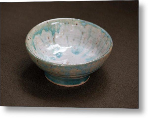 White Ceramic Bowl With Turquoise Blue Glaze Drips Metal Print