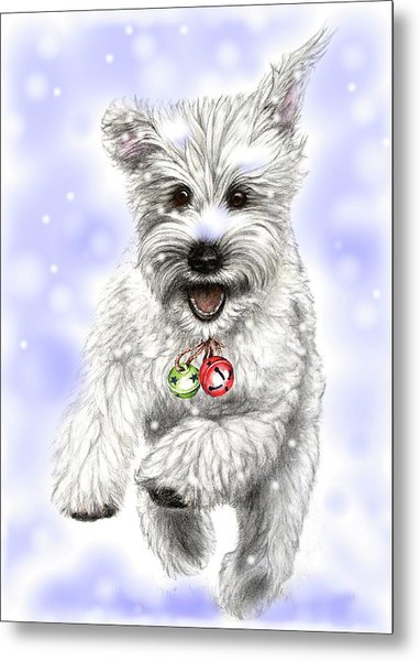 White Christmas Doggy Metal Print