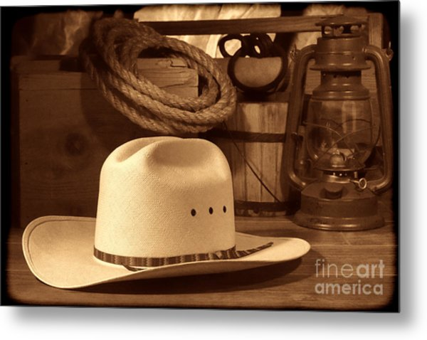 White Cowboy Hat On Workbench Metal Print