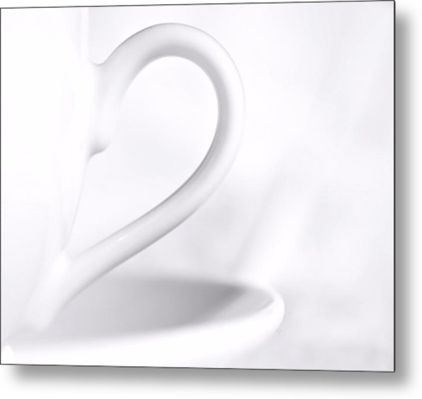 White Cup And Saucer Metal Print