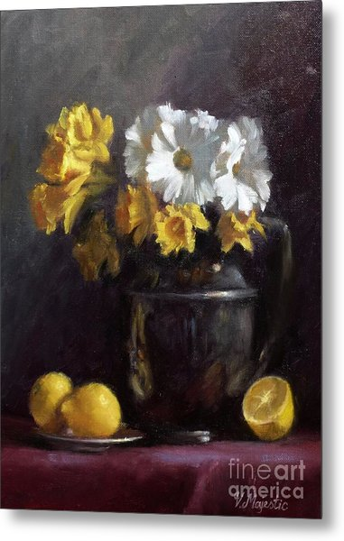 White Daisies And Daffodils  Metal Print