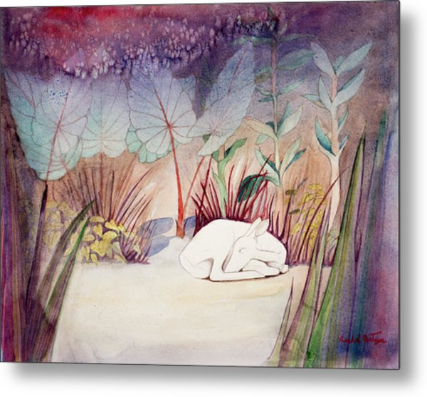 White Doe Dreaming Metal Print