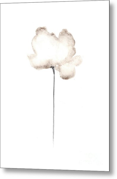 White Flower Minimalist Painting Metal Print
