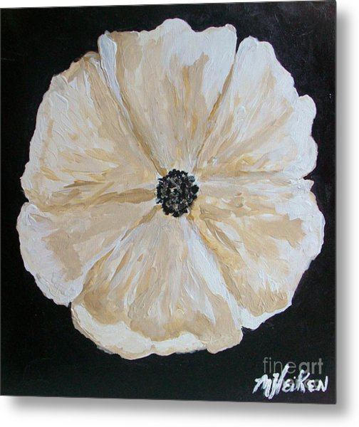 White Flower On Black Metal Print