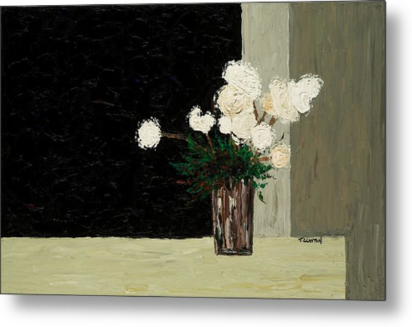 White Flowers On Black And Neutral Metal Print by Timothy Clayton