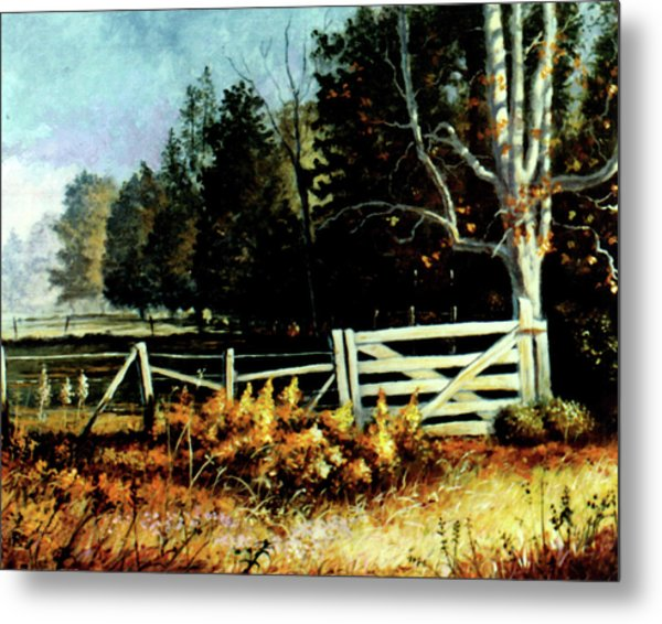 White Gate Metal Print