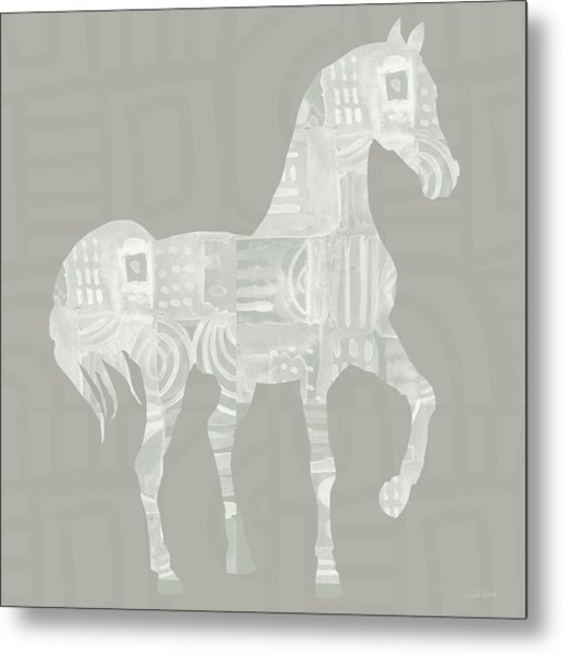 White Horse 1- Art By Linda Woods Metal Print