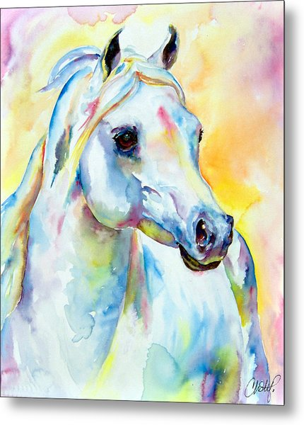 White Horse Portrait Metal Print