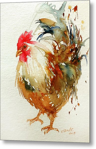 White Knight Rooster Metal Print