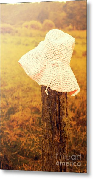 White Knitted Hat On Farm Fence Metal Print