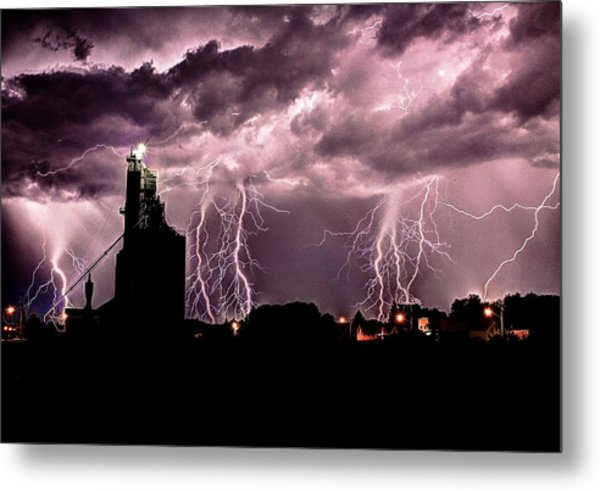 White Lightening Over Elevator Metal Print