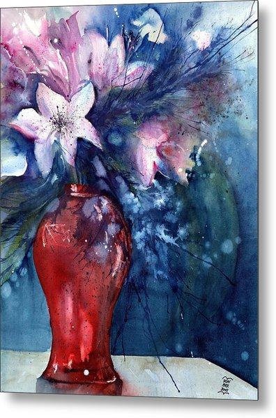 Flowers - White Lilies In Red Vase Metal Print