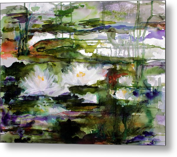 White Lilies On Black Water Wetland Metal Print