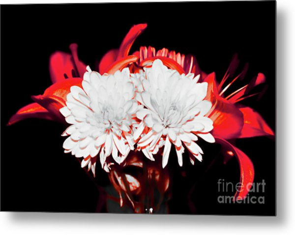 White Mums And Red Lilies Metal Print